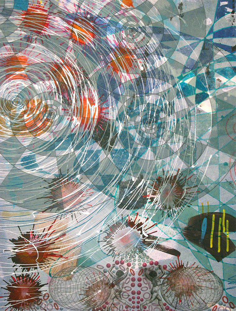 Widening Gyre , 2014 16 x 12 inches, ink, acrylic paint, inkjet prints on illustration board mounted to Sintra SOLD