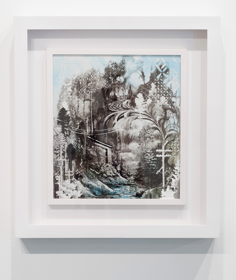 Gregory Euclide   All My Memory's Seeing , 2013 sumi ink, paper, acrylic paint on porcelain-coated steel;27 x 25 x 3 inches (framed)