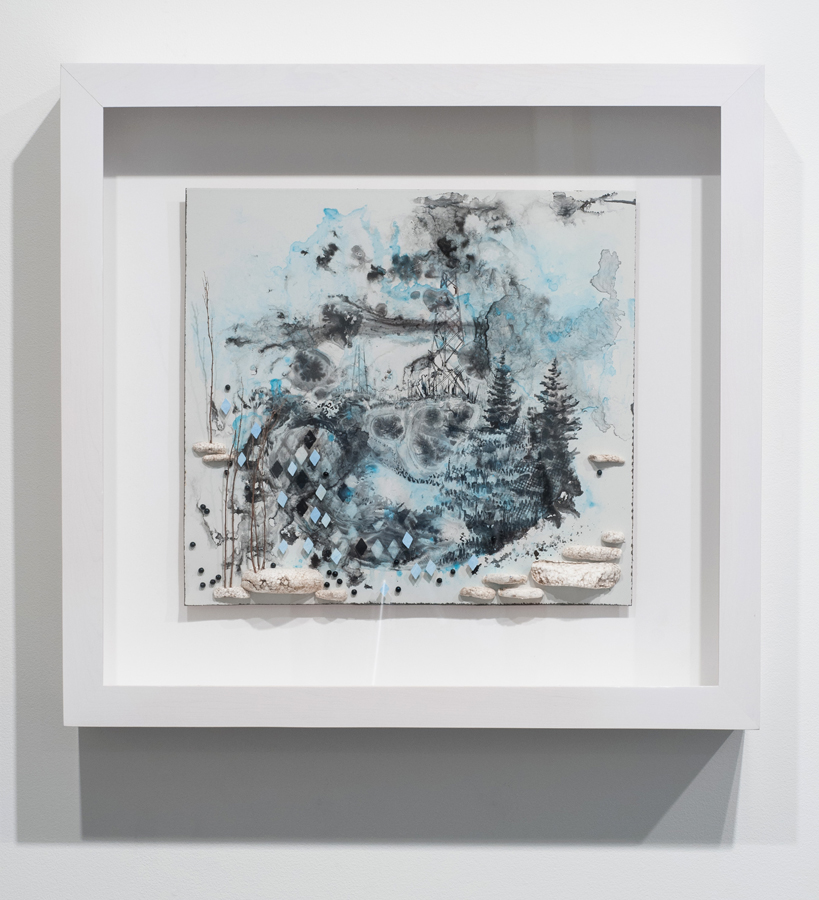 Gregory Euclide   From Above, What Had Been Hidden by the Landscaping of Aversion , 2013 sumi ink, found foam, sage, blackberry lily seed, porcelain-coated steel; 25 x 26.25 x 4.5 inches (framed)