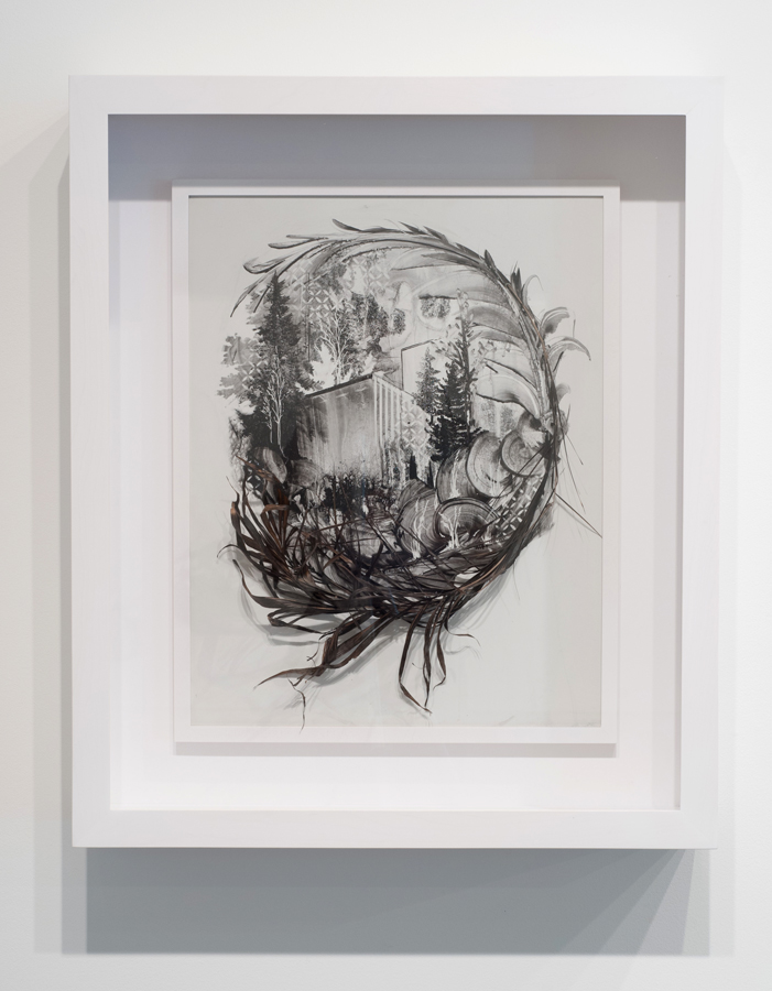 Gregory Euclide   Spot 2 , 2013 sumi ink, organic material on porcelain-coated steel; 33 x 28 x 7.25 inches (framed)