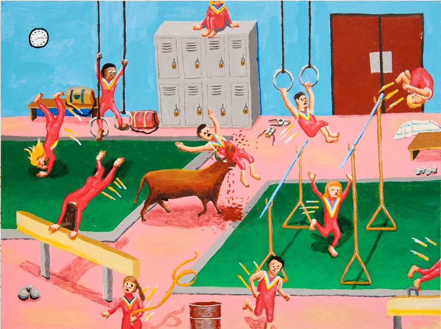 Gymnastics Bull Attack , 2013 acrylic on canvas 18 x 24 inches