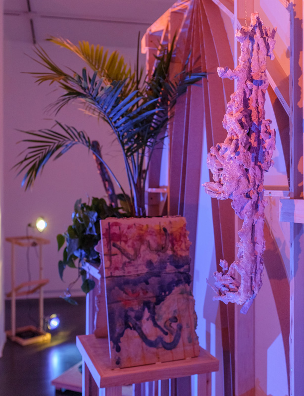 Jorunn Hancke Øgstad   Two Without Titles , 2016,glazed ceramic slabs, 19 x 13 x 12 inches   Sofia Londoño   Untitled , 2016;camo netting, Hydrocal, gentian violet, ink; 29 x 5 x 7 inches