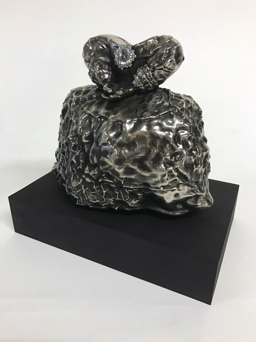 Kryptonite Princess Dress , 2016 chromed ABS plastic 3D-printed sculpture on cast black rubber pedestal 7.5 x 6.5 x 3.5 inches (figure only)