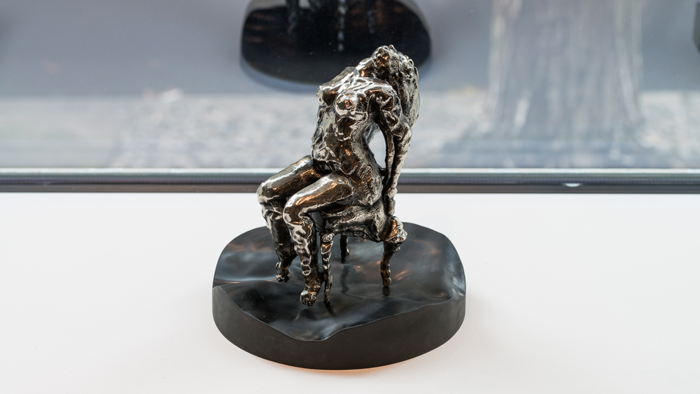 Kryptonite Mini Mortification , 2010-2016 chromed ABS plastic 3D-printed sculpture on cast black rubber pedestal 6 x 3 x 4.5 inches (figure only)