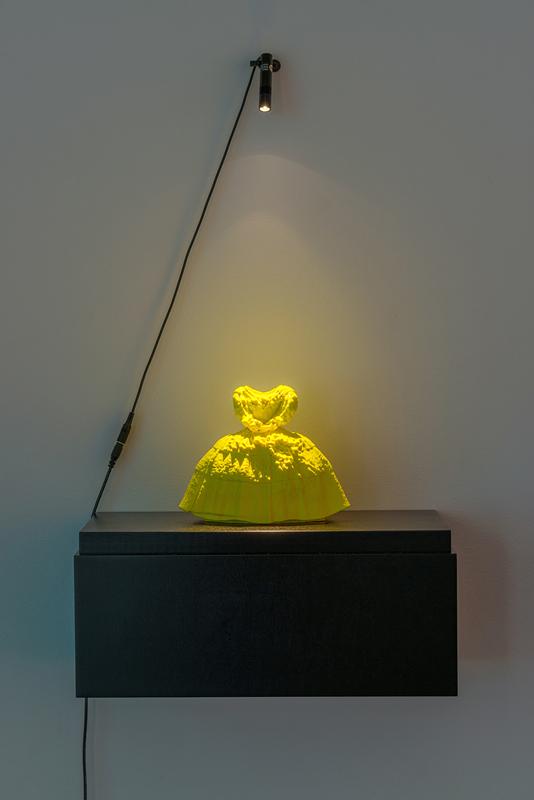 Yellow Princess Dress , 2016 ABS plastic 3D printed sculpture 8 x 7 x 5.5 inches, unique