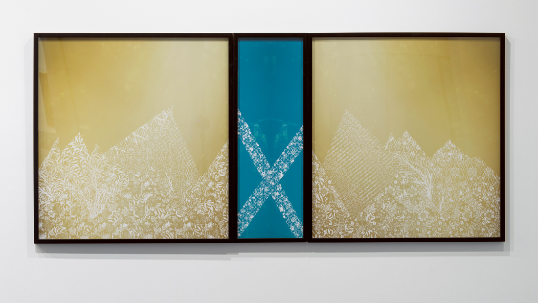 The Falls V (Triptych) , 2015 pigment print scratched with a razor 36 x 80 inches