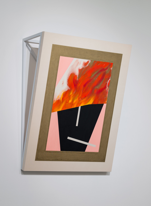 disappeared into the fire B , 2017 acrylic on canvas, painted wooden armature 51 x 40 x 14.25 inches