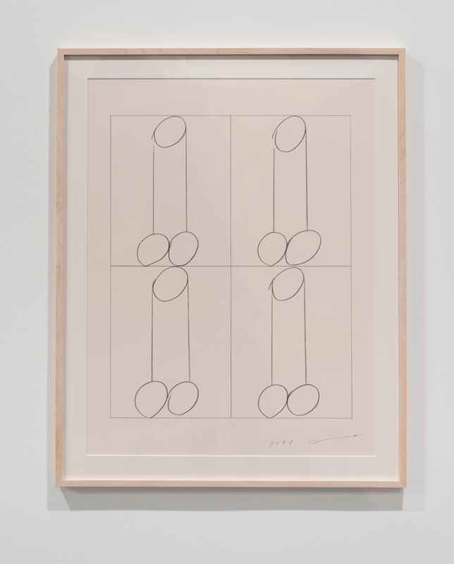 four penises B , 2017 pencil on paper 30 x 23 inches