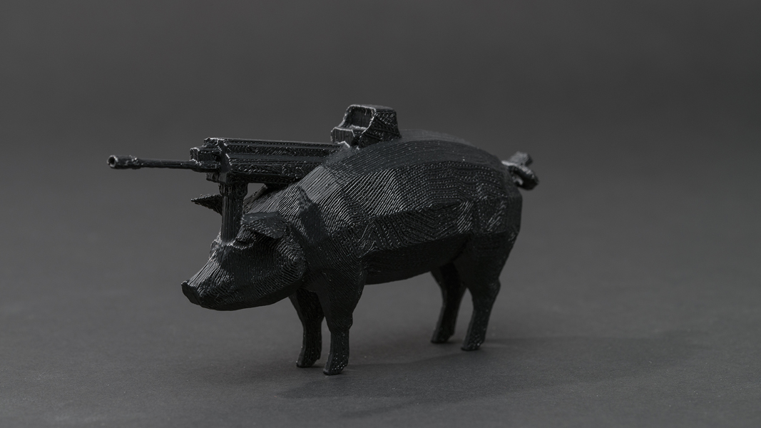 Dark Matter (First Series): #pig #gun , 2013 3D printed plastic, 4 x 8 x 2 inches (approx.) edition of 5 plus 1 AP photo by Mario Gallucci