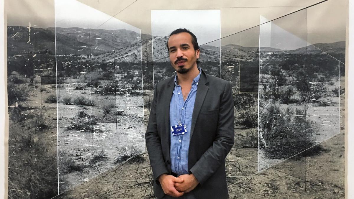 Artist Rodrigo Valenzuela with  Sense of Place No. 32