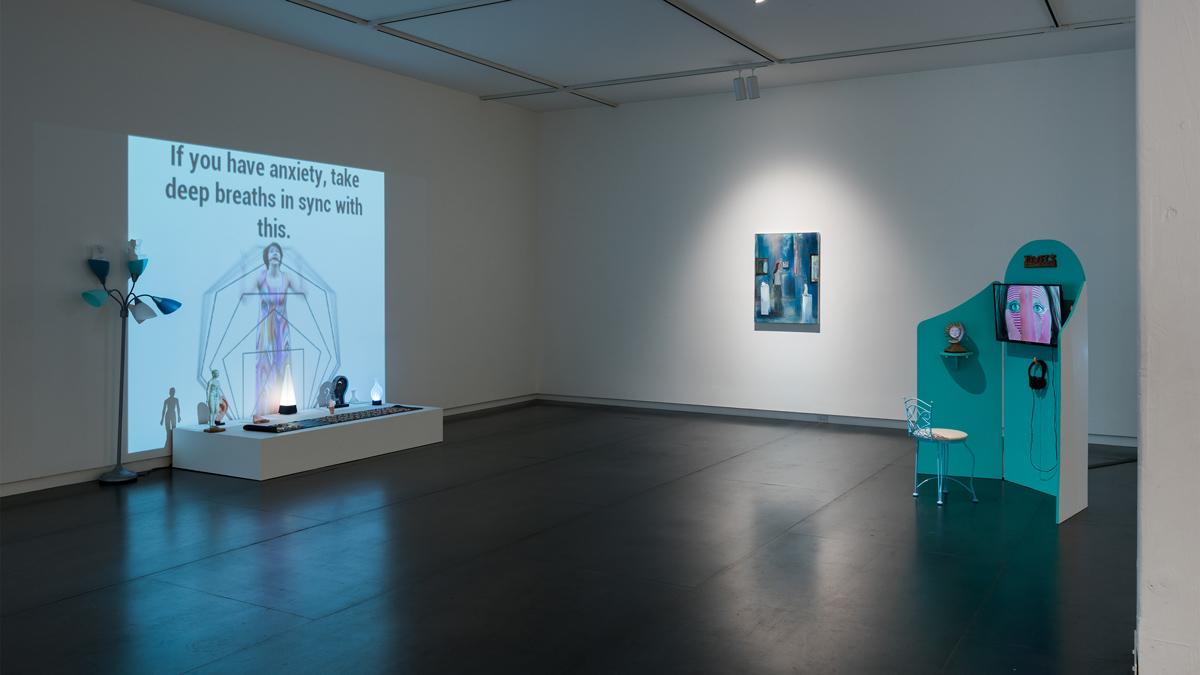 The Feeling Good Handbook  video installations by Shana Moulton painting by Heidi Hahn
