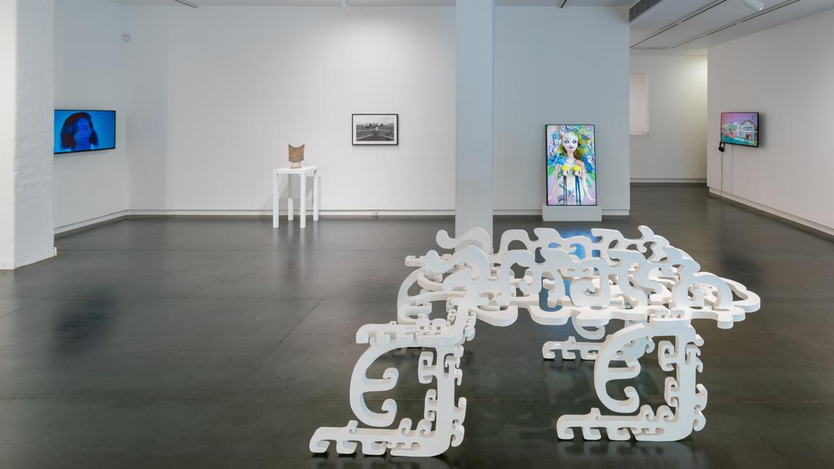 artists, left to right: Kris Graves, Michelle Grabner, Zun Lee, Katie Torn, Jordan Rathus and Jeremy Couillard, Brenna Murphy (on floor)