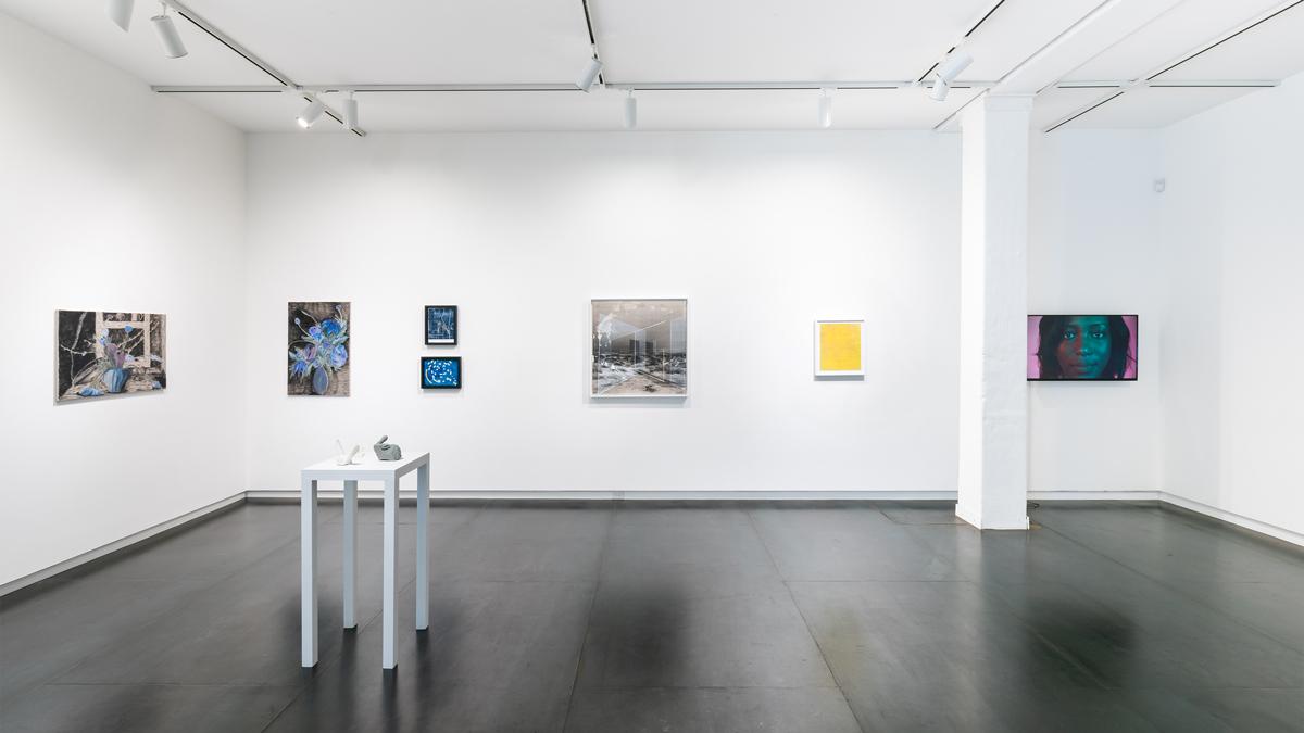 artists, left to right: Srijon Chowdhury, Ronny Quevedo, Rodrigo Valenzuela, Laura Vandenburgh, Kris Graves, Heidi Schwegler (on pedestal)