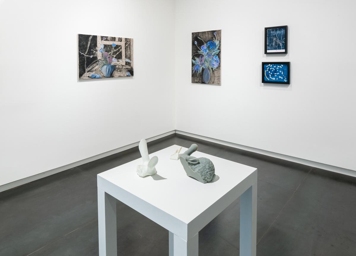 artists, left to right: Srijon Chowdhury, Ronny Quevedo, Heidi Schwegler (on pedestal)
