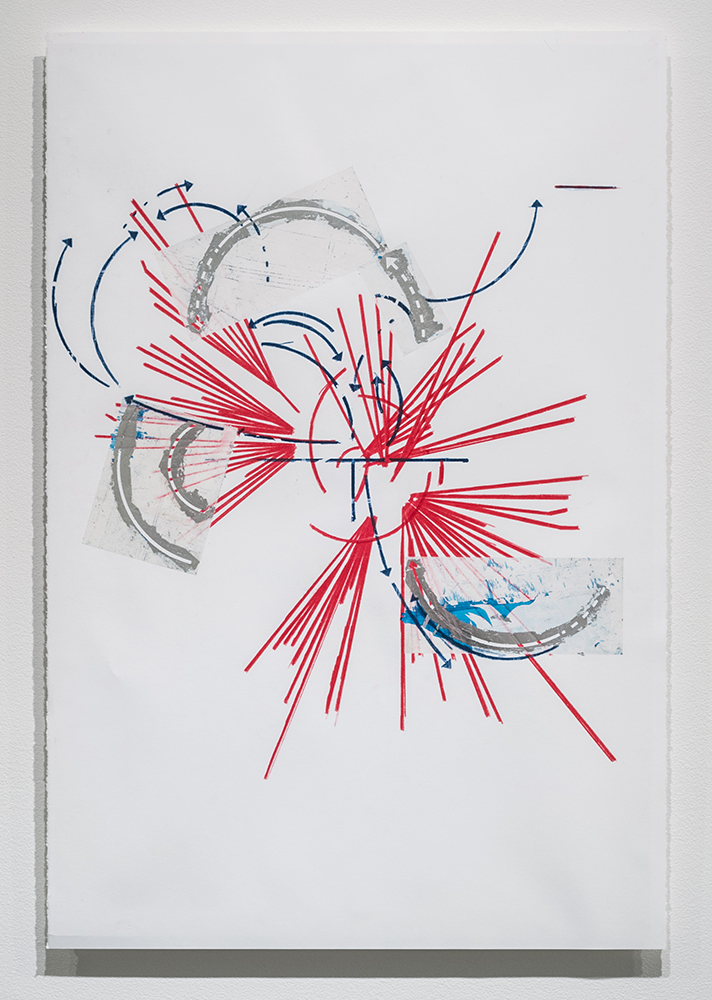 notes on the poetics of relation #2 , 2015 silver leaf, wax and adhesive film on paper 39 x 26 inches