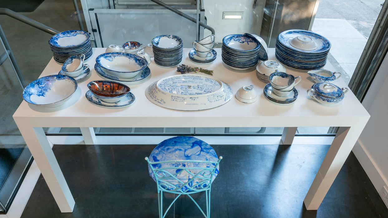 An Embarrassment of Dishes , 2015 cobalt blue pigment, 7-Up and simple syrup, painted and kiln fired on a 1961 set of Noritake inherited from the artist's grandmother functional service for 12