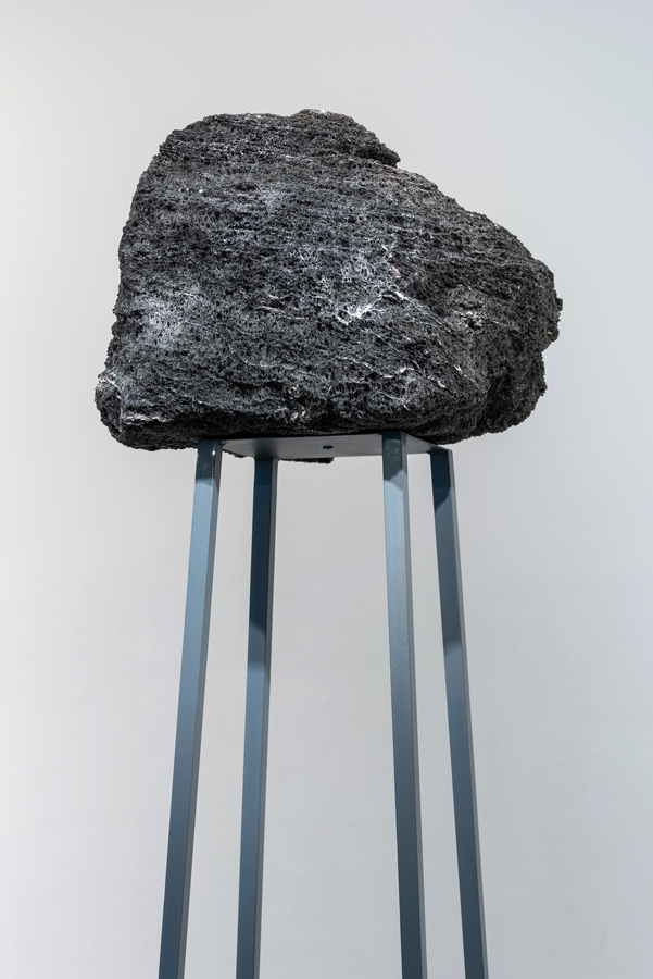 Rocking all over the world  (detail), 2018 steel, paint, feather rock 91.375 x 16.875 x 18.875 inches (232 x 43 x 48 cm) SOLD