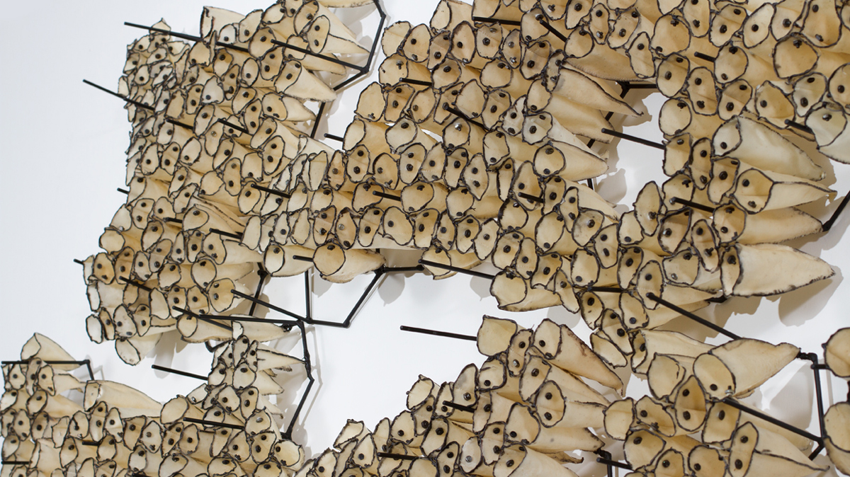 Bloom  (detail), 2012 waxed cloth, nuts, bolts