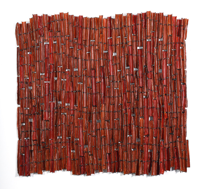 Porous Borders - Red , 2012 waxed cloth, nuts, bolts, welded steel 33 x 33 x 3 inches