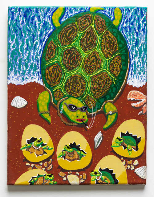 Crazy Rich Turtles , 2018 acrylic on canvas 14 x 11 inches