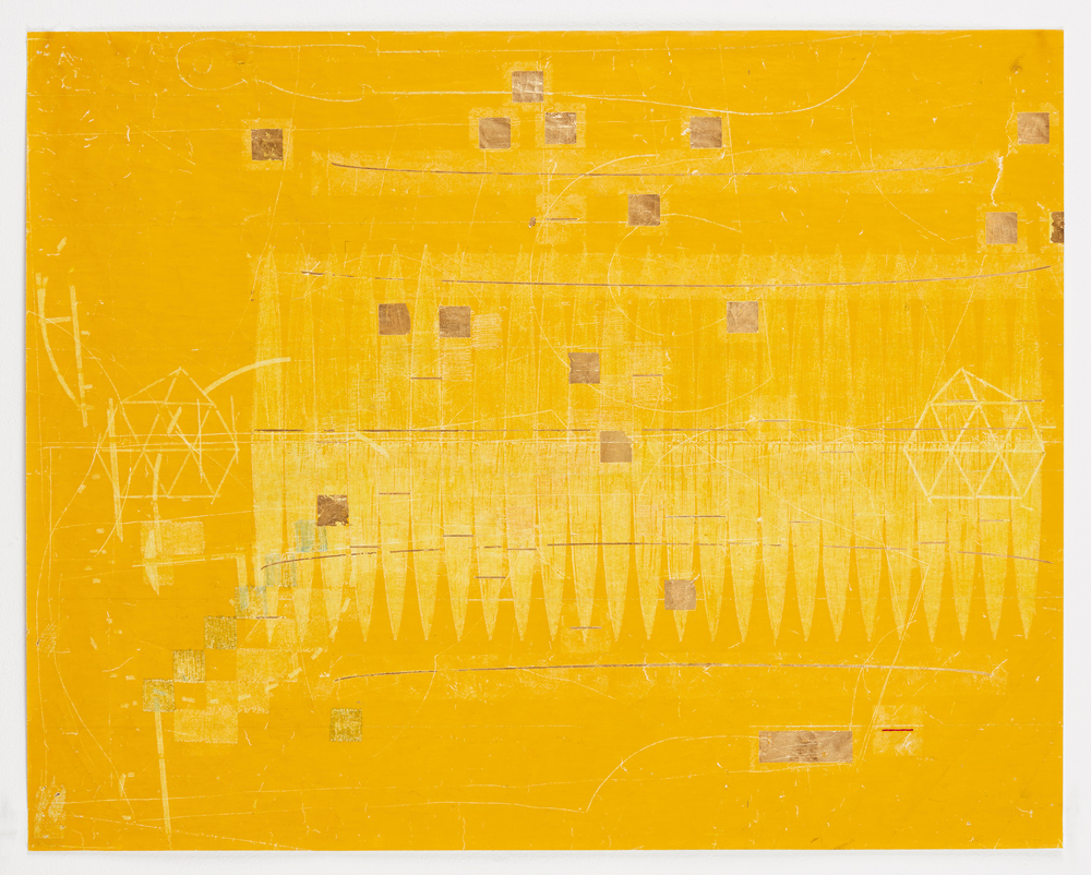 notes on the poetics of relation (0 degrees)  by Ronny Quevedo, 2017, gold leaf and wax on dress maker paper, 26 x 33 inches.