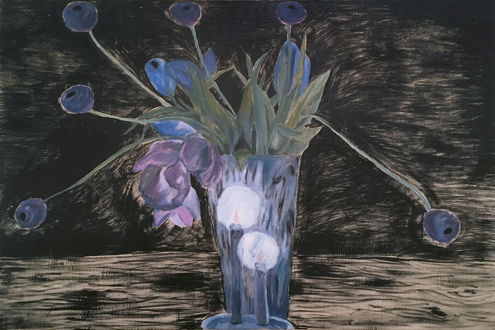 Two Candle Bouquet , 2017 oil on linen 24 x 36 inches