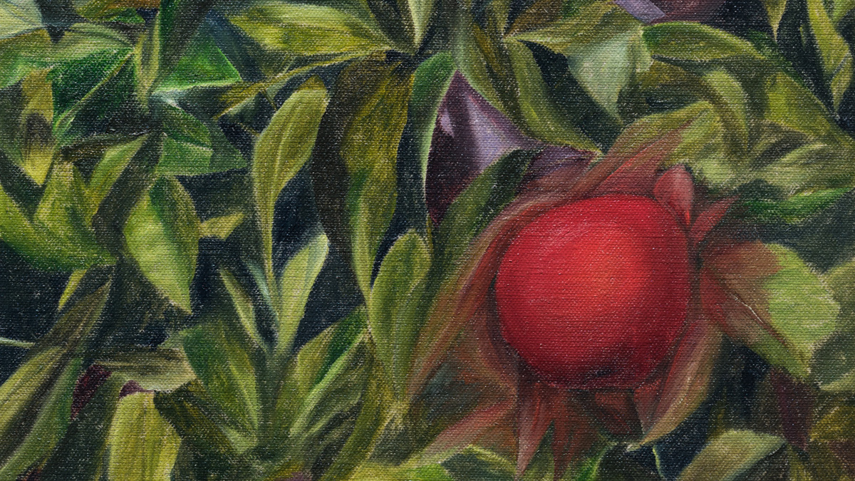 Apple  (detail), 2018 oil paint on linen 16 x 12 inches