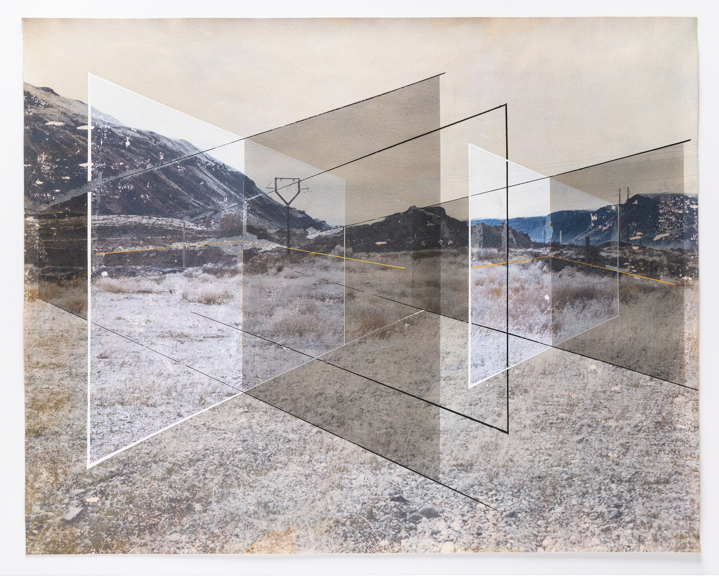New Land No. 27 , 2018 acrylic, toner, and chalk on canvas 35.75 x 45.25 inches