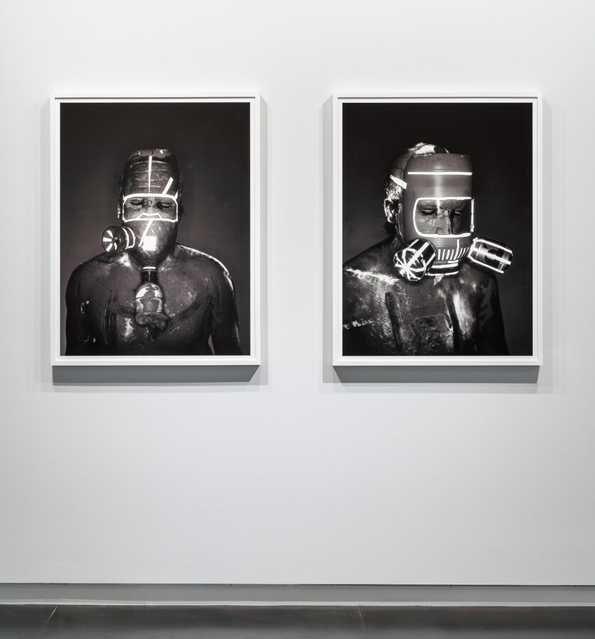 Mask #3  and  Mask #2  each: 2018 archival pigment print mounted on Sintra 43 x 33 inches, edition of 3 + 1 AP