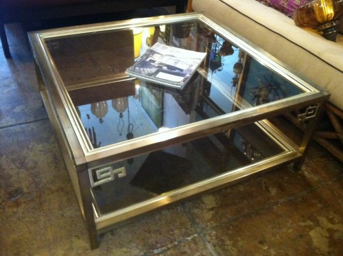 Vintage Brass Finish Coffee Table