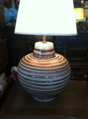 pair of striped pottery lamps