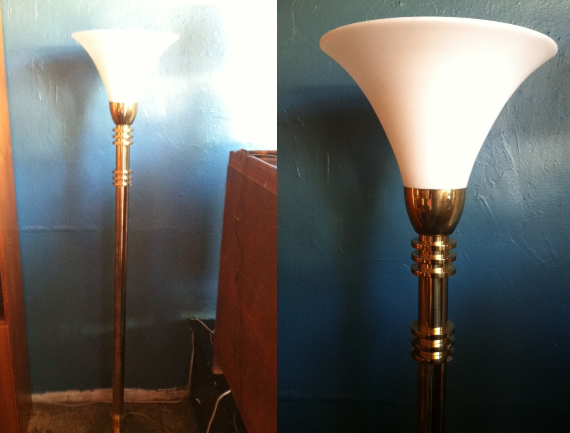 Brass Torchere Lamp