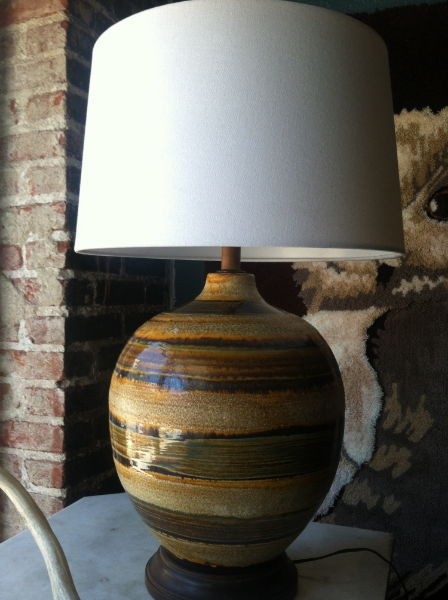 striped pottery lamp