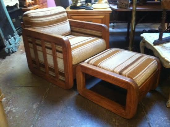 80s club chair and ottoman