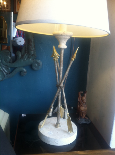 iron and marble arrow lamp