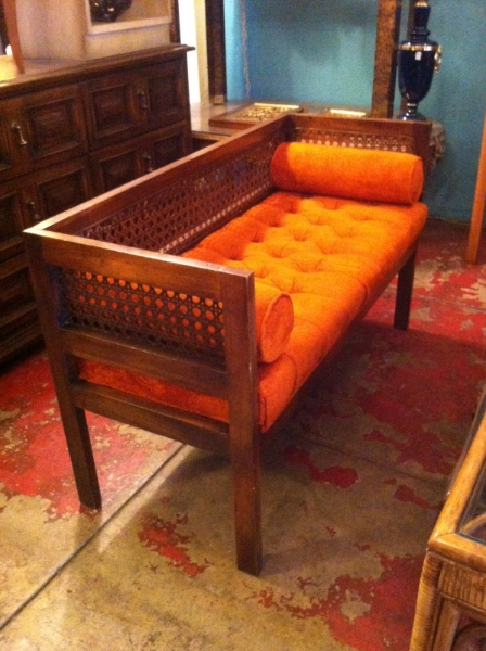 1970s Orange Bench with Cane Sides