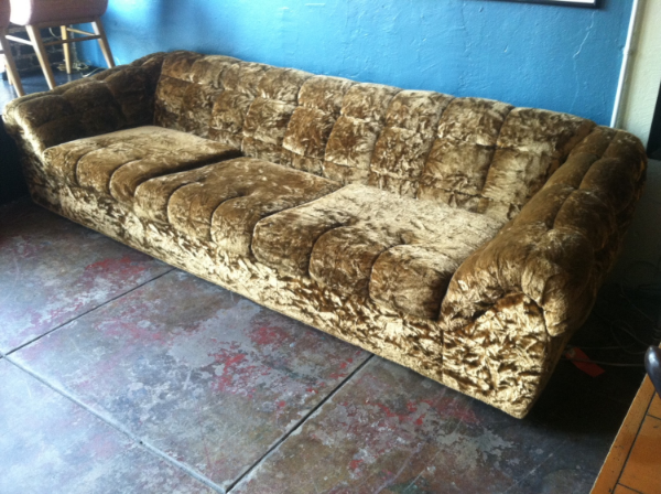 crushed velour sofa