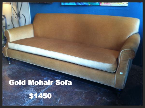 gold mohair sofa