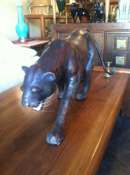 Leather Mountain Lion Statue