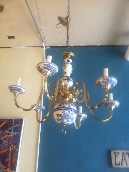 Italian Pottery and Brass Chandelier