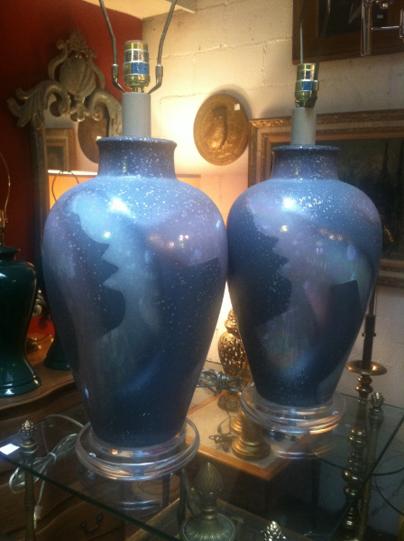 Pair of 1980s Pottery and Lucite Lamps