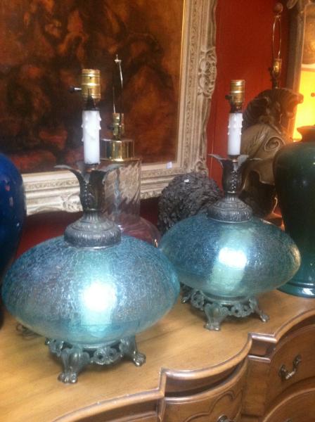 Pair of Regency Glass Lamps