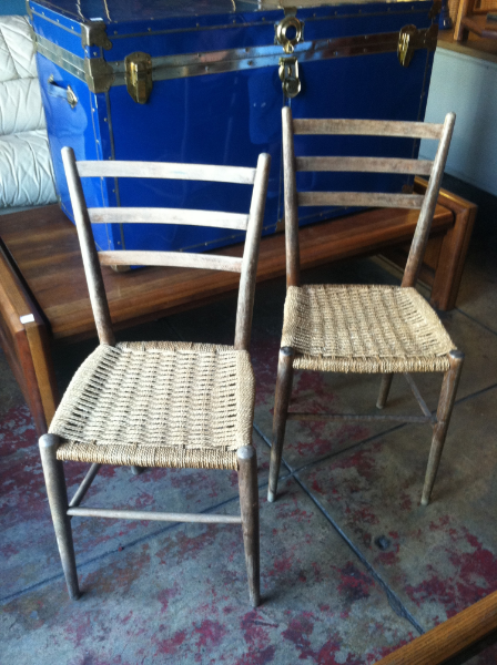 compact vintage rope chairs