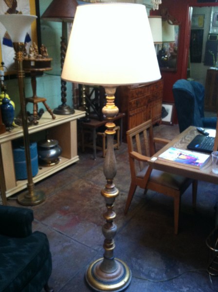 Hand Carved Wood Floor Lamp