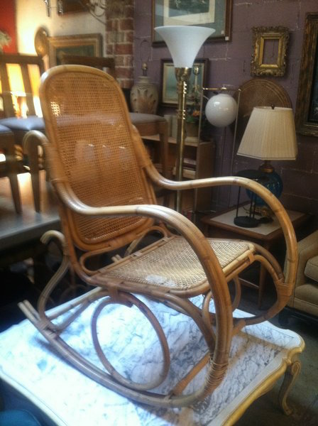 1970s Cane and Bamboo Rocking Chair