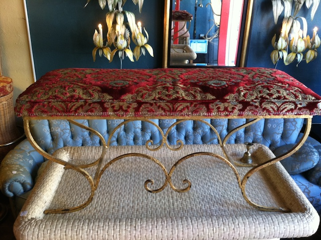 Iron Bench With Gold Leaf Finish