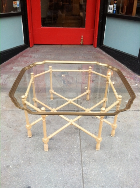 Faux Bamboo and Brass Coffee Table
