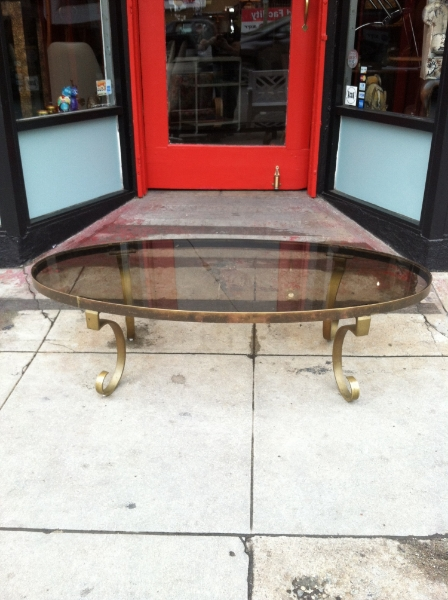 mid-century brass finish coffee table