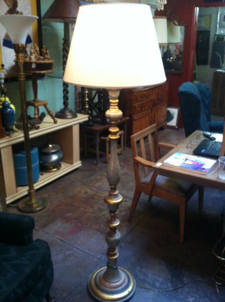Hand Carved Wood Floor Lamp