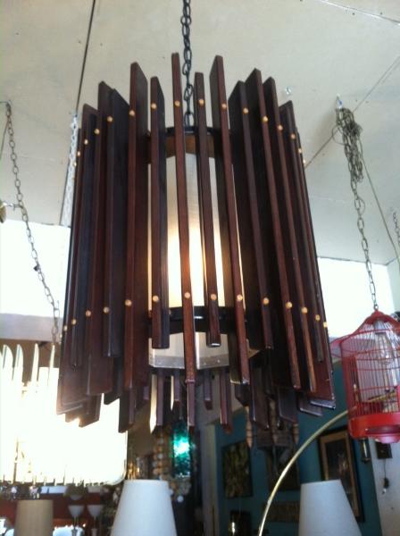 mid-century slat chandelier